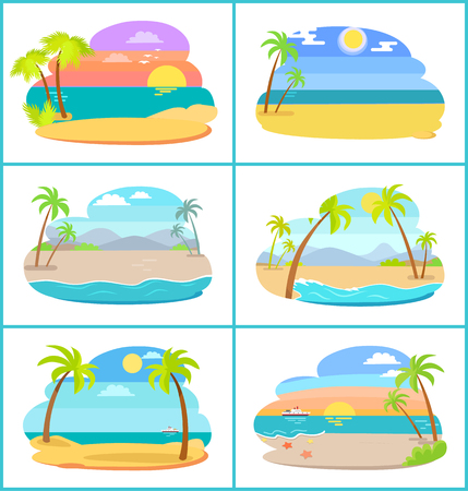 Sandy beaches in broad daylight and at sunset set. Tall palms and blue ocean at paradise resorts. Tropical beaches isolated vector illustrations.