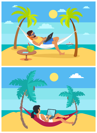 Freelance woman and man, working and lying in hammock, sunshine and weather, set of freelance workers collection, isolated on vector illustration Vettoriali