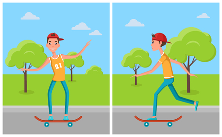 Skateboarding set of posters cartoon characters skateboarders, male skateboard on training in green city park at skatepark, vector illustrations set