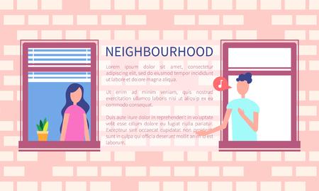 이웃 포스터 남자 노래 또는 말하기