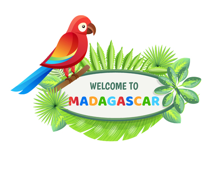 Welcome to Madagascar, poster with text sample and set of leaves of different style, welcome to Madagascar banner isolated on vector illustration Illustration