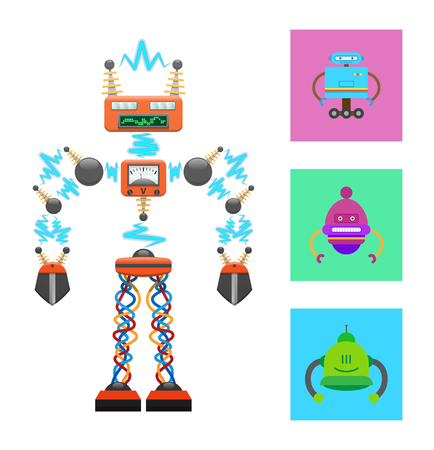 Futuristic robot template on white background, abstract connection by radio waves, cables binding legs, info panel, robots collection in color squares