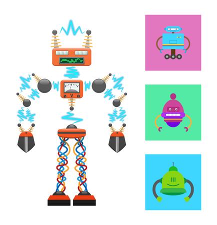 Plantilla de robot futurista sobre fondo blanco, conexión abstracta por ondas de radio, patas de unión de cables, panel de información, colección de robots en cuadrados de colores