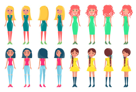 Women in fashionable outfits. Girls in colorful dresses with neat hairstyles vector illustrations. Young pretty women in elegant stylish dresses set