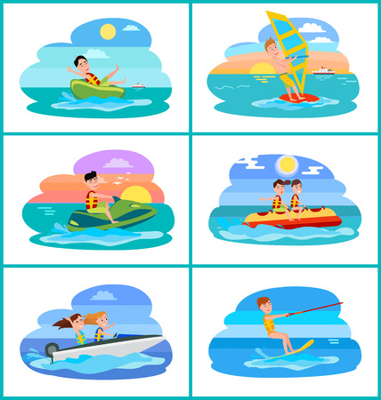Donut ride collection activities, windsurfing and boating, banana boat summer sport, sports set vector illustration isolated on white background