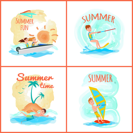 Summer fun and time collection of posters with headlines, sunny weather, summer sport and activities, vector illustration isolated on white background Illustration