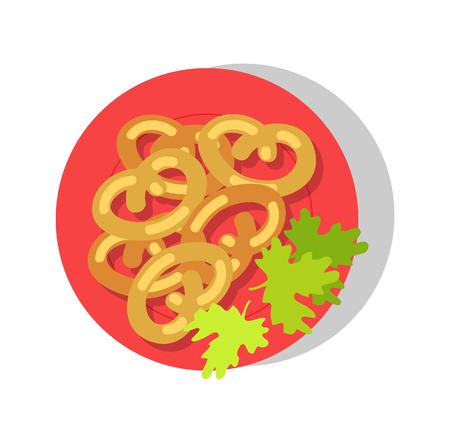 Delicious brezel on round plate colorful banner, vector illustration, parsley salad leaves, tasty brezels bakery set, beer snack, dish presentation  イラスト・ベクター素材