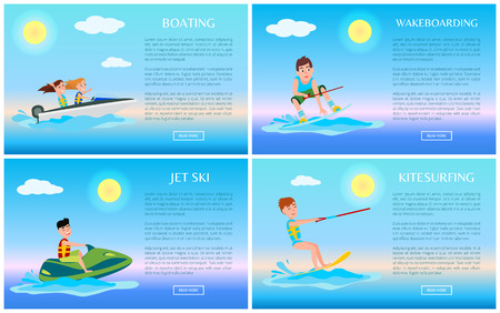 Boating and wakeboarding, jet ski and kitesurfing, colorful vector illustrations set, text sample, good sunny weather, sea waves, water sports banner Imagens
