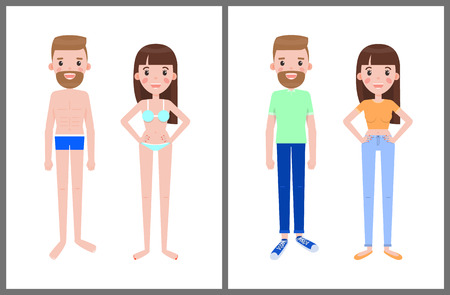 Man and woman in swimsuits and in summer clothes, male and female in cartoon style in underwear and stylish everyday apparel vector man and woman