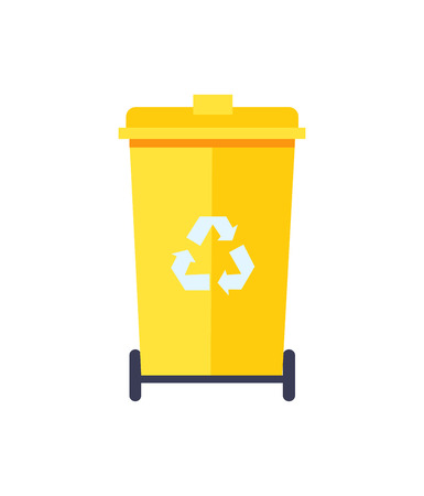 Yellow Trash Can Color Icon Vector Illustration Ilustrace