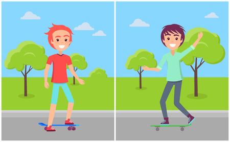 Happy caucasian boys on skateboards riding at skatepark vector illustration of guys skaters on road among green trees on background of blue sky Illustration