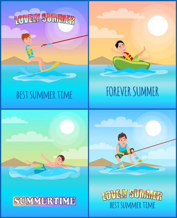 Best summer time collection, posters with headlines and types of summer sport, kitesurfing and donut ride, swimming, banners set vector illustration 向量圖像