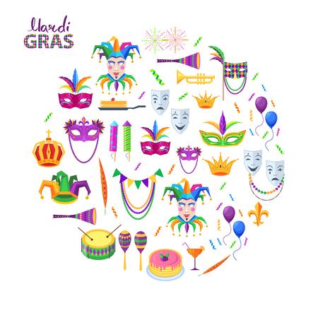 Mardi Gras Carnival Attributes Flat Concept