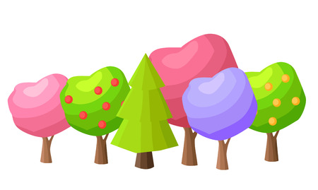 Low Poly Colorful Trees Flat Set