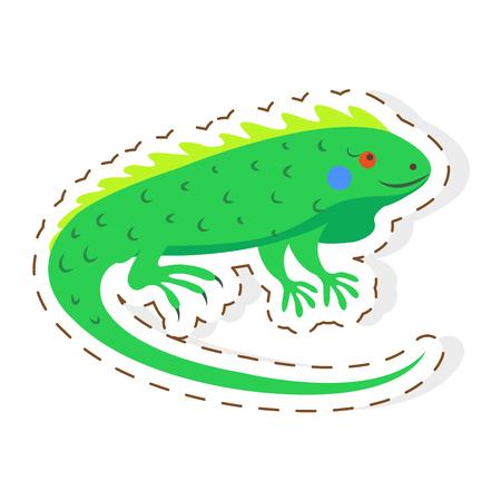Cute Iguana Cartoon Flat Sticker or Icon