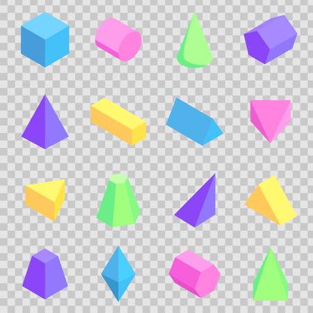 Colección geométrica de prismas 3d, figuras coloridas Foto de archivo