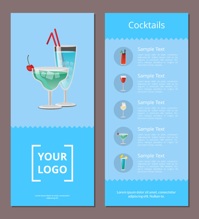 Cocktail Menu Advertisement Poster with Prices Фото со стока