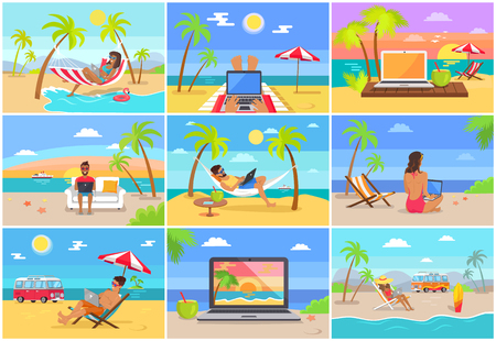 Freelance Workers at Sunny Tropical Beaches Set Stockfoto