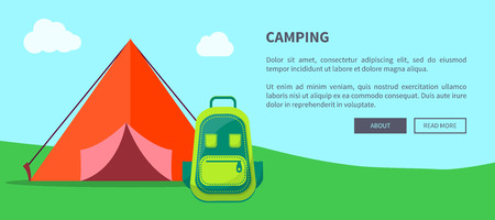 Summer Camping Template with Tent and Backpack 版權商用圖片