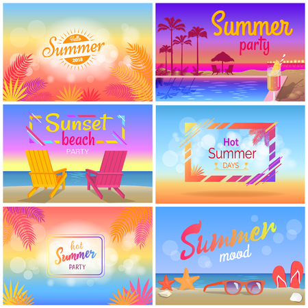 Hot Summer Party Mood, Beach Landscape Posters Illustration