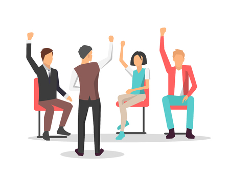 Business training and meeting at conference representing leader asking his employees questions, and raised hands of workers on vector illustration
