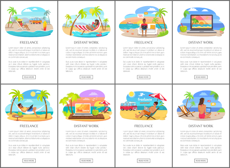 Freelance and distant work during summer posters. Men and women in swimwear work at beach. Freelancers on vacation in tropics vector illustrations.
