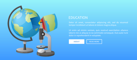 Education web banner with globe model and separate segment with ground layers and microscope isolated vector illustrations Illustration