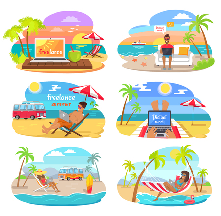 Summer freelance distant work colorful posters set vector illustration green palm trees cheerful people with laptops, seascapes and job on vacation Illustration