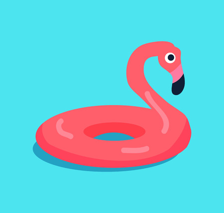 Rubber flamingo ring isolated on blue background vector illustration wading bird with pink or scarlet color for swimming, safety lifebuoy round shape