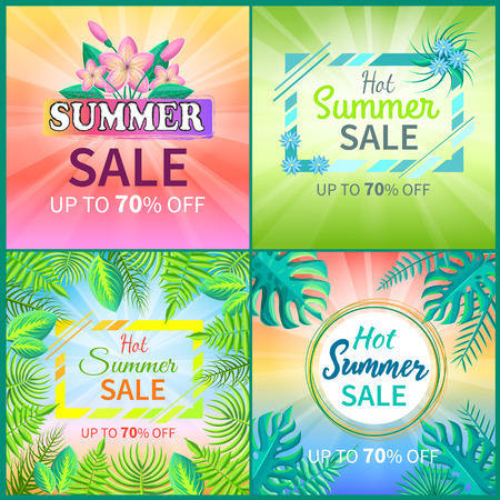 Summer sale collection posters with headlines, summertime set of banners, royal fern and rubber fig tree leaf, isolated on vector illustration Illustration