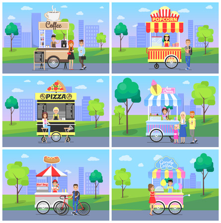 Set of mobile fast street food kiosks in city park vector illustration with pretty design snack shops, coffee popcorn pizza ice cream and hot dog Illustration