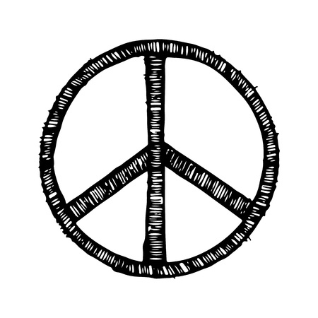 Hippie symbol made of brush strokes vector illustration isolated on white background. Peace sign in black color, logotype design