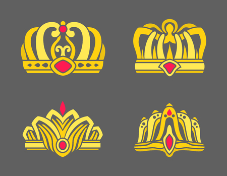 Gold crowns inlaid with rubies for royalty set. Heraldic royal symbols power. Gorgeous crowns and elegant diadems isolated on grey vector illustrations