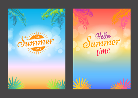 Hello summer days hot time promotional posters with text on background of beach sand with tropical leaves, endless ocean and blue sky with clouds