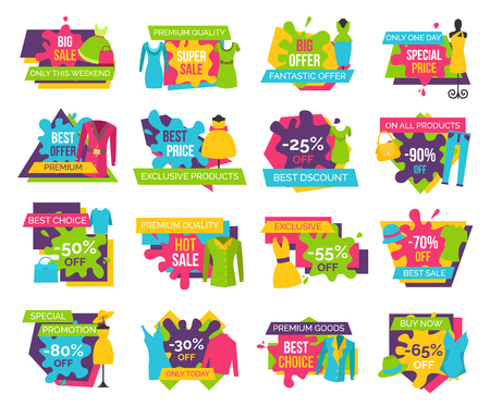 Big bundle of promo badges colorful labels exclusive premium goods choice buy now advertisements clothing apparels dresses, t-shirts and jackets vector Illustration