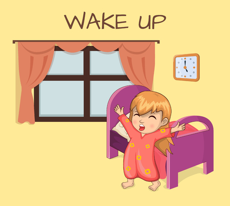 Wake Up Poster Sleepy Girl Illustration