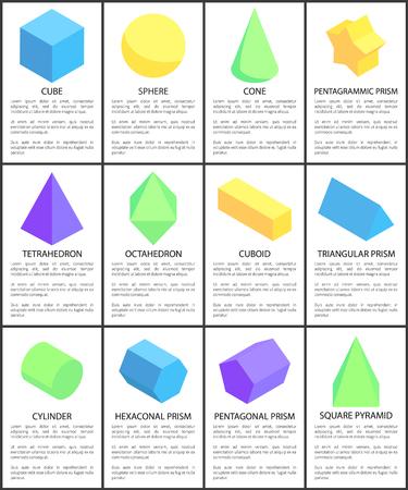 Cube Sphere Cone Octahedron Cylinder Figures Set