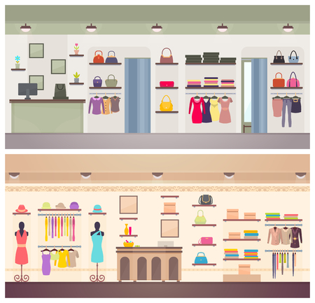 Two Designs of Female Clothing Shops Vector Banner Banque d'images - 104698153