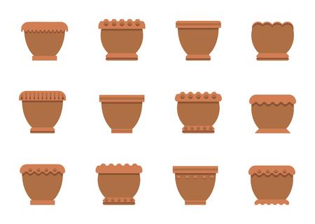 Flower Pots of Brown Color Set Vector Illustration