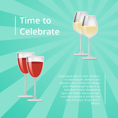 Time to Celebrate Poster with Red and White Wine