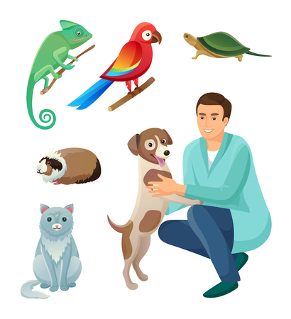 Veterinarian in Robe with Dog and Exotic Pets Set