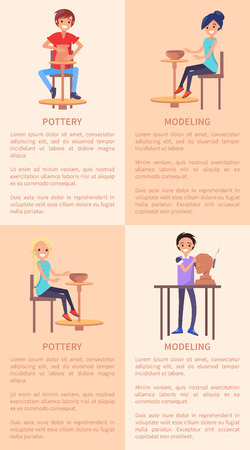 Pottery and Modeling Posters with People and Text