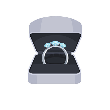 Ring with Diamonds in Opened Box Vector Icon Stock Photo