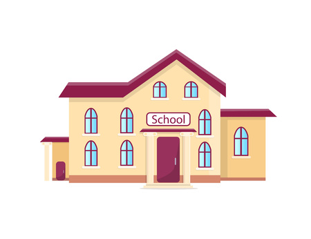School Isolated Cartoon Illustration with Inscription