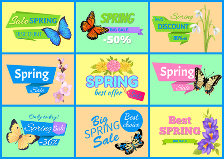 Best Spring Big Sale Banners Vector Illustration