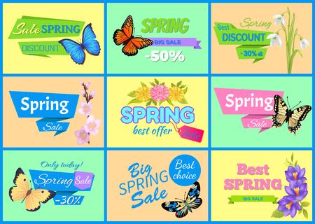Best Spring Big Sale Banners Vector Illustration