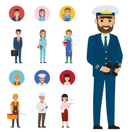Professions People Cartoon Characters Icons Set Zdjęcie Seryjne