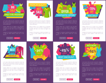Big Bundle of Promo Web Posters with Clothing Stock fotó - 104674047