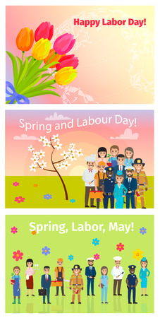 Three Horizontal Cards of Spring, Labor Day in May