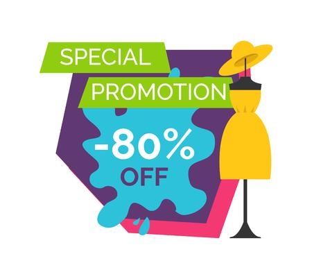 80 Off Special Promotion Logo mit Dummy im Kleid